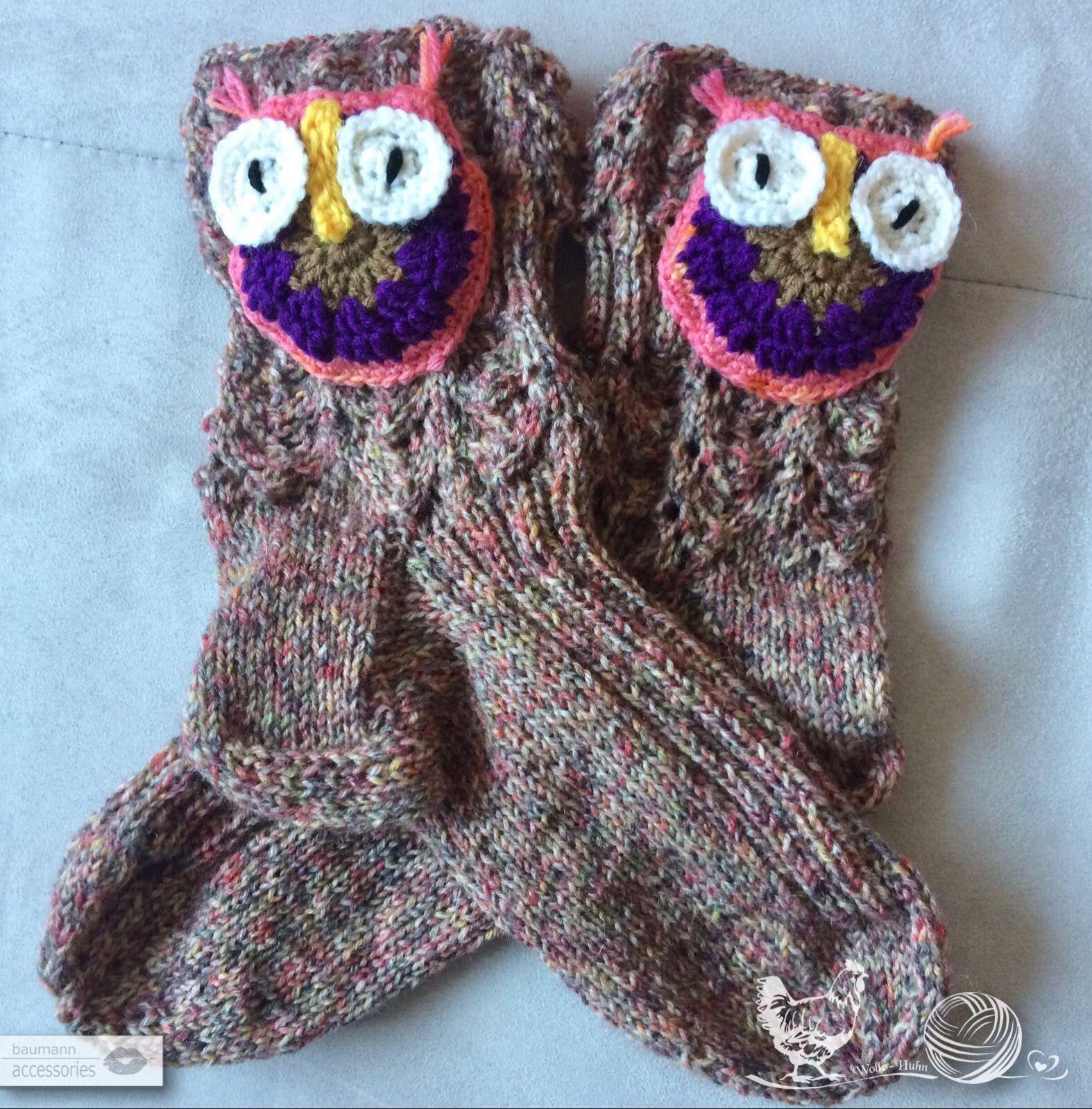 Eulen Socken - baumann-accessories | Knitted & Crocheted warm Things ...