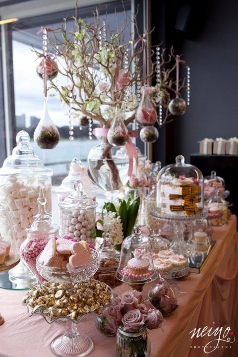 Dessert Table Set Up So Fancy And Sweet Notice The Trend Is To Elevate Use Multiple Layers Learn To Do Thi Candy Bar Wedding Wedding Candy Wedding Desserts