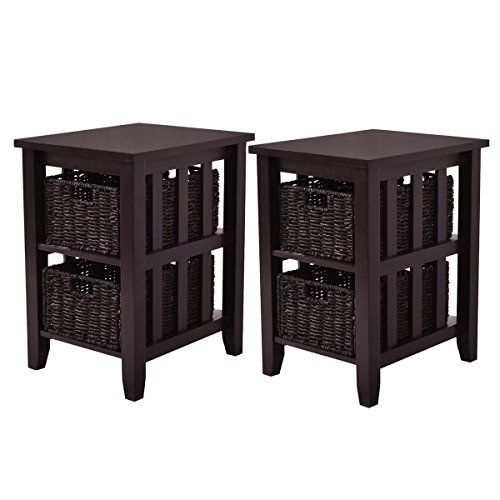 Giantex 2pcs Side End Coffee Table Stand Wooden Storage 4 Baskets Furniture Espresso
