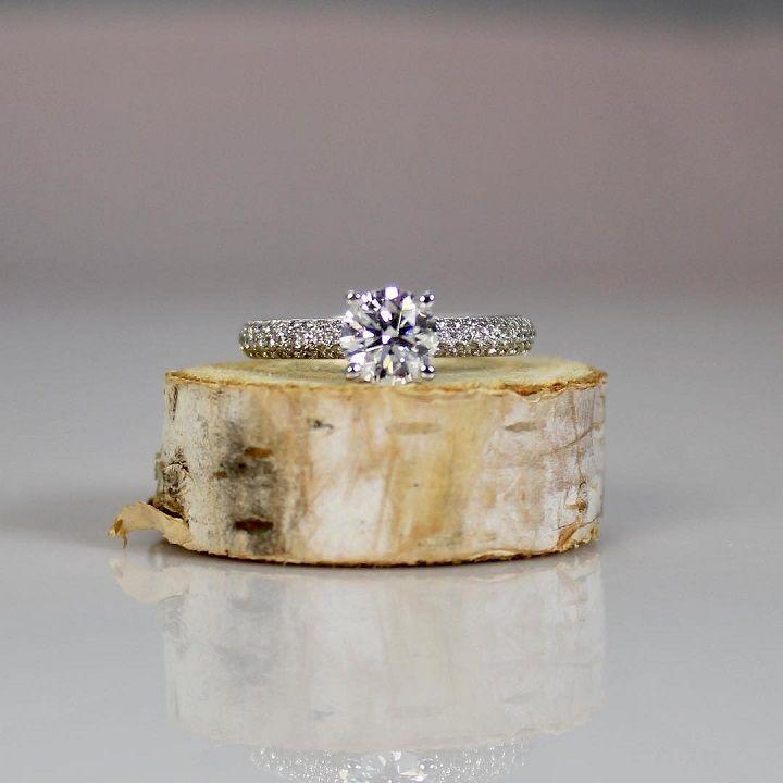 1ct solitaire diamond with three row micro-pave diamond band - Diamond engagement ring #engagementring #diamond #diamondengagementring #engaged #bridetobe #wedding