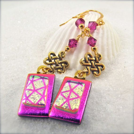 Dichroic Earrings Pink Gold