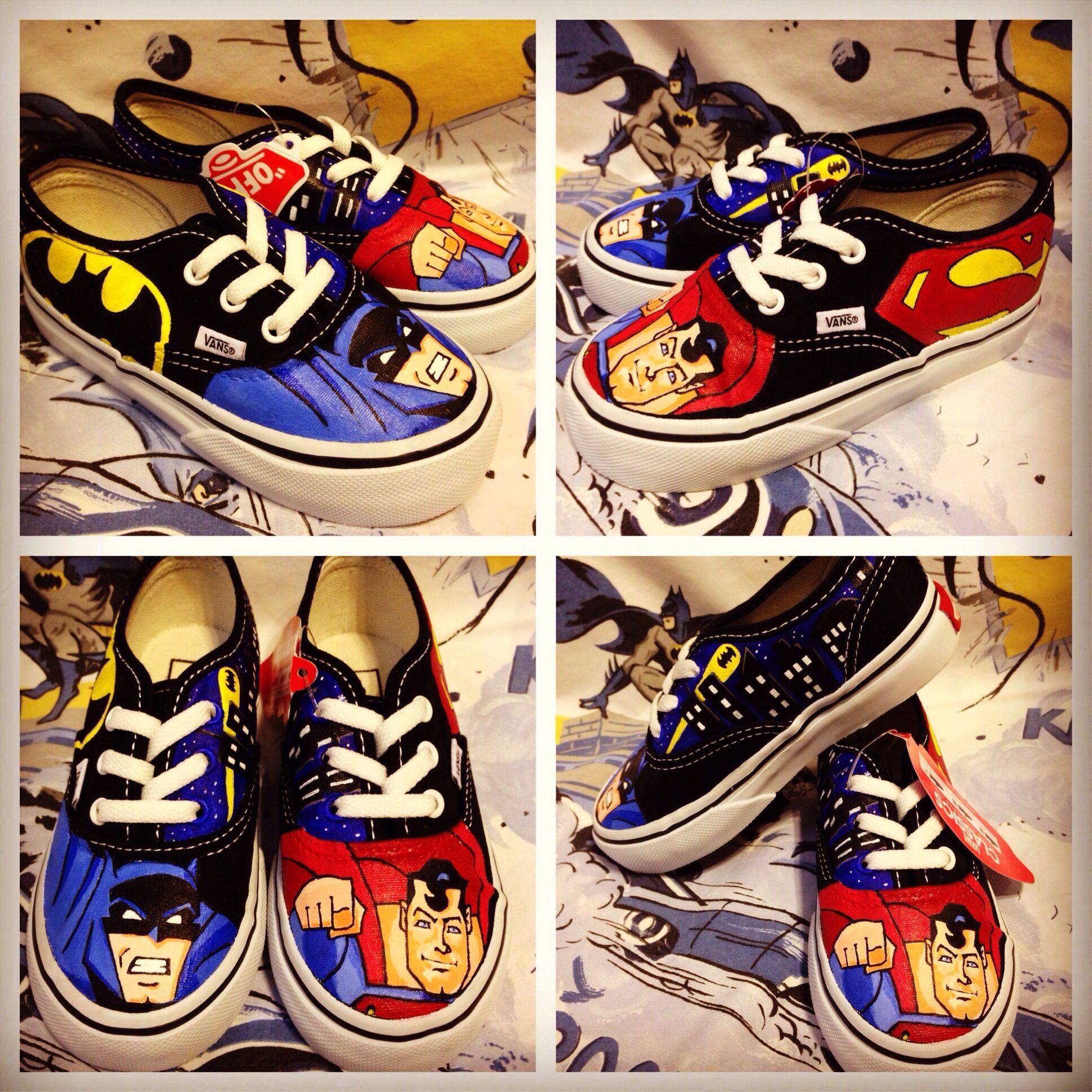 c67f1cf1fb80 Custom Authentic Vans Batman   Superman theme toddler size 8 ...