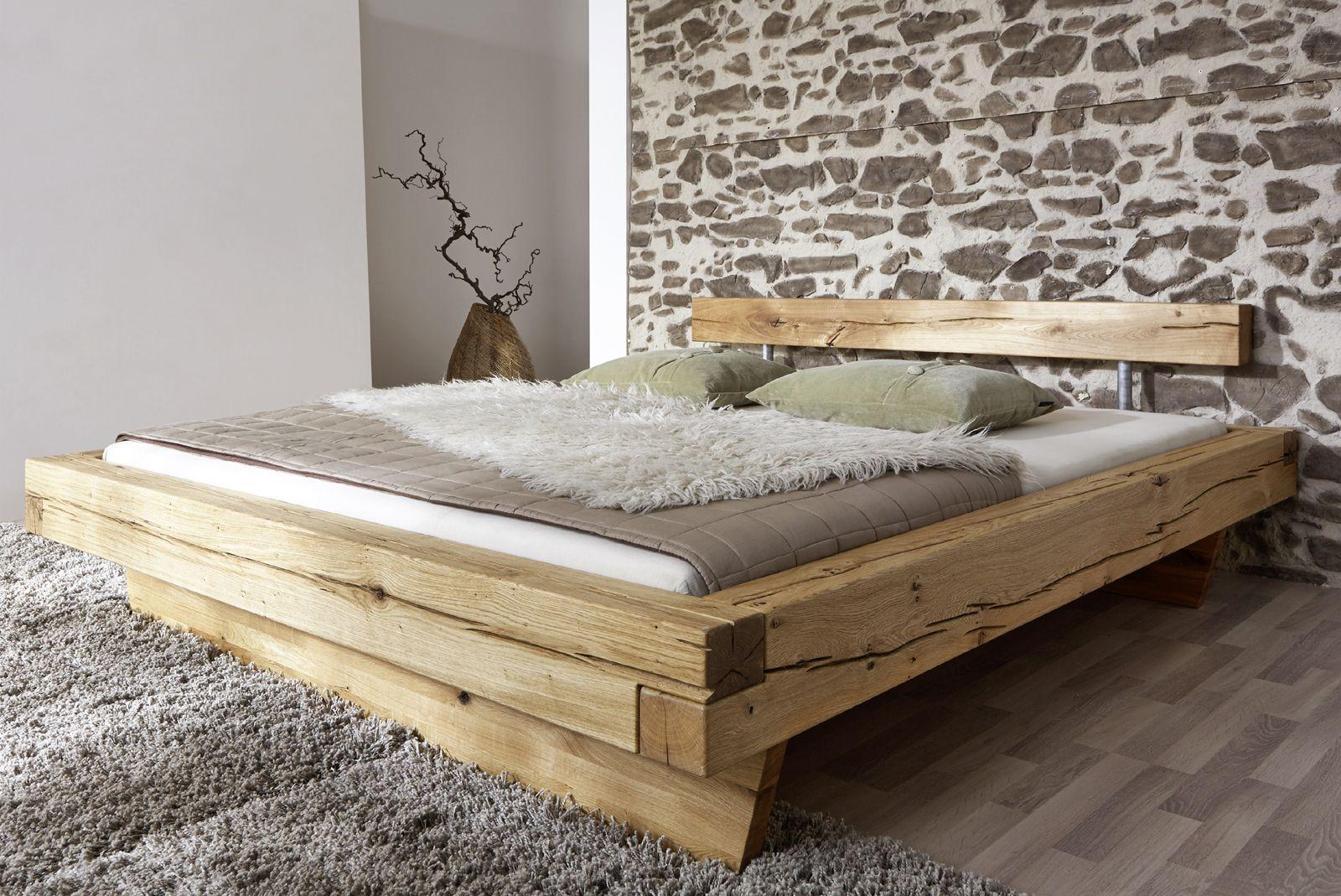 sam® balkenbett jakob wildeiche holzbett 200 x 200 cm bestellware ... - Schlafzimmer Bett 200x200