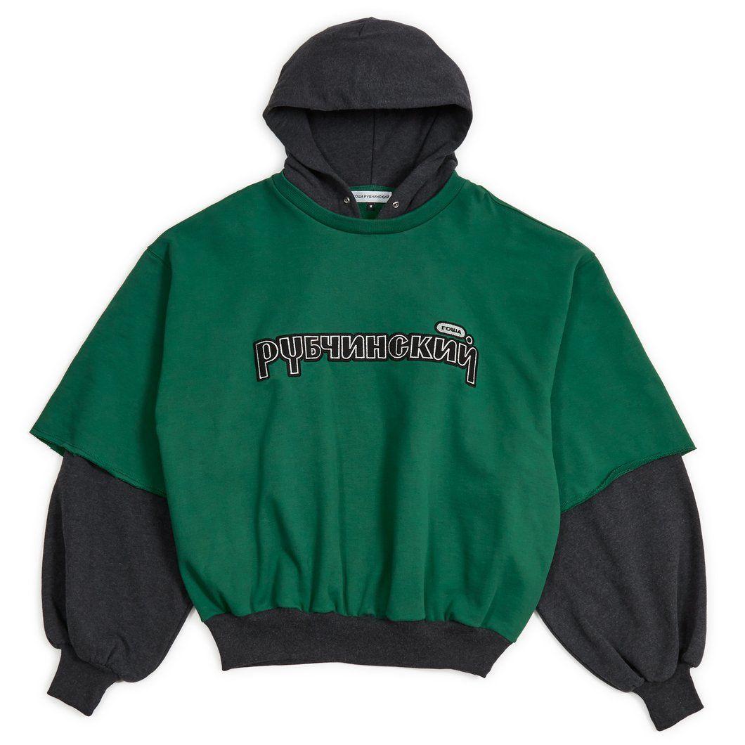 1500kr Gosha Rubchinskiy Combo Hooded Sweatshirt (Dark Grey