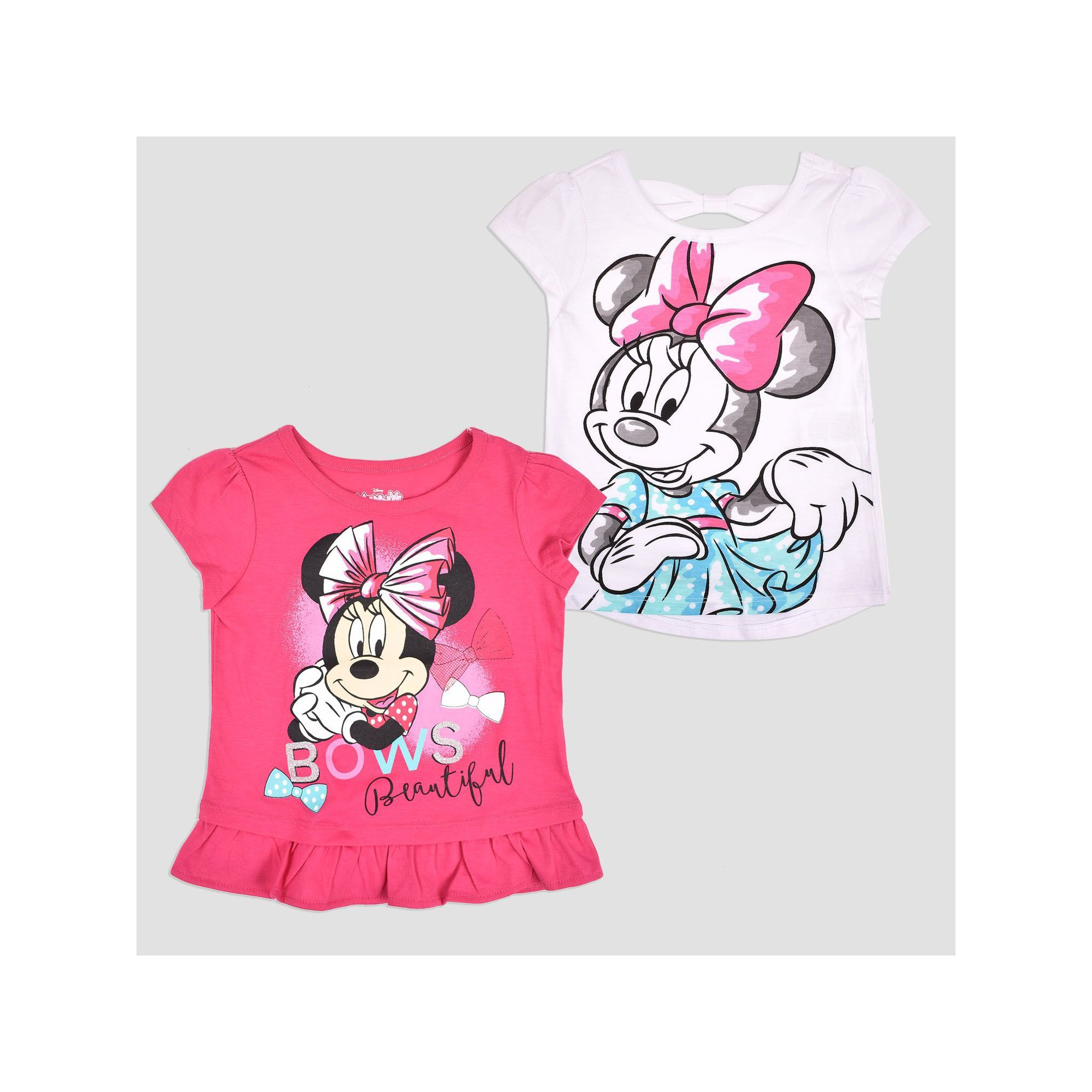 5fe7eb92f72 Toddler Girls  2pk Disney Mickey Mouse   Friends Minnie Mouse Short Sleeve T -Shirt - Pink 5T