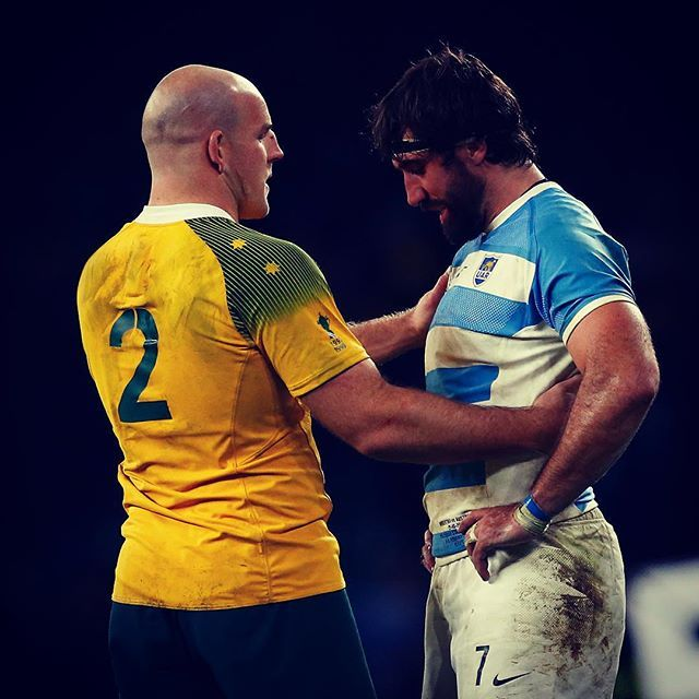 Two great players with the utmost respect for each other @wallabies @unionargentina #RWC2015