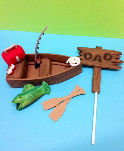 Fondant Fishing Boat Cake Topper Fondant by CherryBayCakes