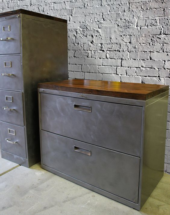 Refinished Metal Filing Cabinet 30 36 Or 42 Etsy Rustic Office Storage Office Storage Cabinets Metal Filing Cabinet