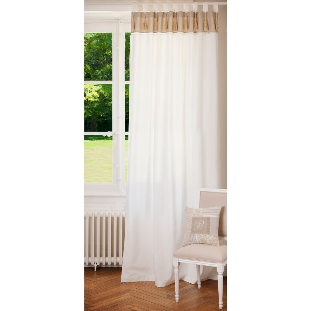 rideau double passants en coton blanc et beige 150 x 250 cm coton blanc coton et maison du. Black Bedroom Furniture Sets. Home Design Ideas
