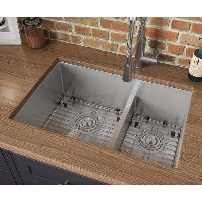 Ruvati 28 In Low Divide Double Bowl 60 40 Undermount Tight Radius 16 Gauge Stainless Steel Kitchen Sink Rvh7255 The Home Depot Undermount Kitchen Sinks Stainless Steel Kitchen Sink Double Kitchen Sink