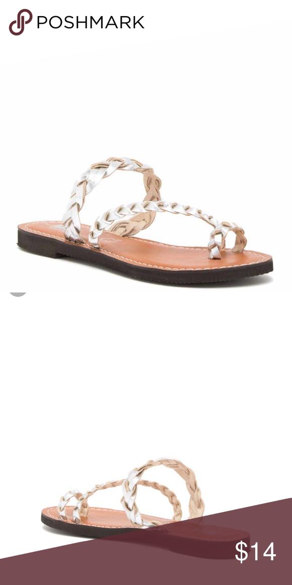 0cb14fb24b19 MIA nagina leather sandal in silver MIA nagina leather sandal with braided  straps in silver size 8.5 Mia Shoes Sandals