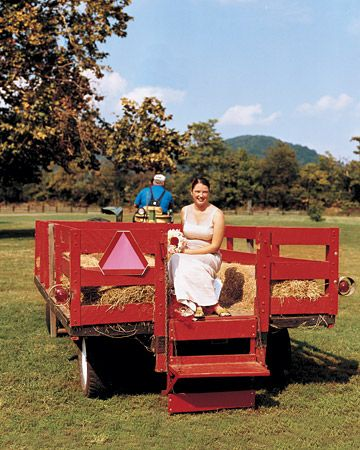 Fall Wedding Getaway Idea! Ride off into the sunset on the back of a hay wagon, an old truck or invite the whole group to take a hay ride back to the hotel! http://www.theamericanwedding.com/blog/2012/planning-a-fall-wedding/