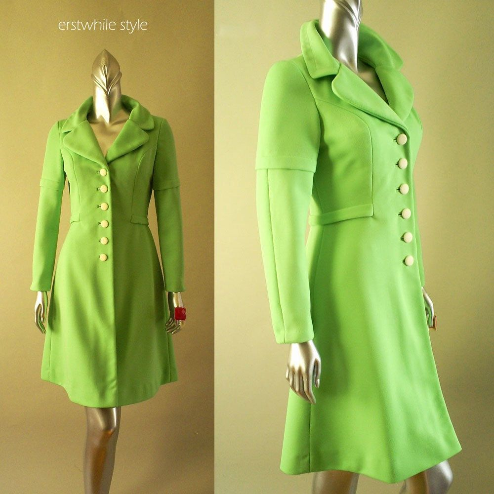 S alfred werber bright green neon coat dress sm my style