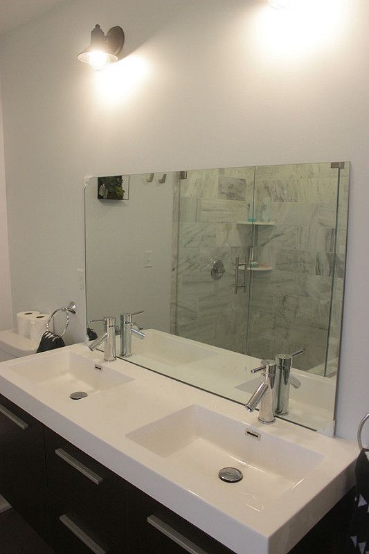 How To Install A Bathroom Mirror Without Brackets Love The Large Sinks Bathroom Ideas