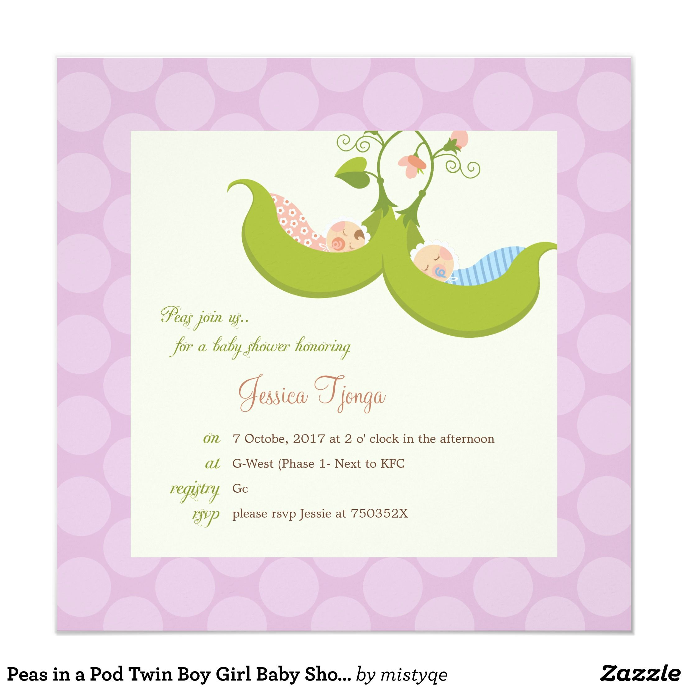 Peas in a Pod Twin Boy Girl Baby Shower Invitation | Twin boys and ...