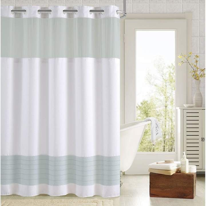 Color Block Single Hookless Shower Curtain In 2019 Hookless