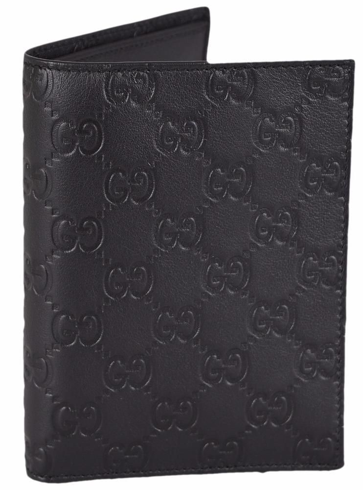 585439c6 NEW Gucci Men's 346079 Black Leather GG Guccissima Passport Holder ...