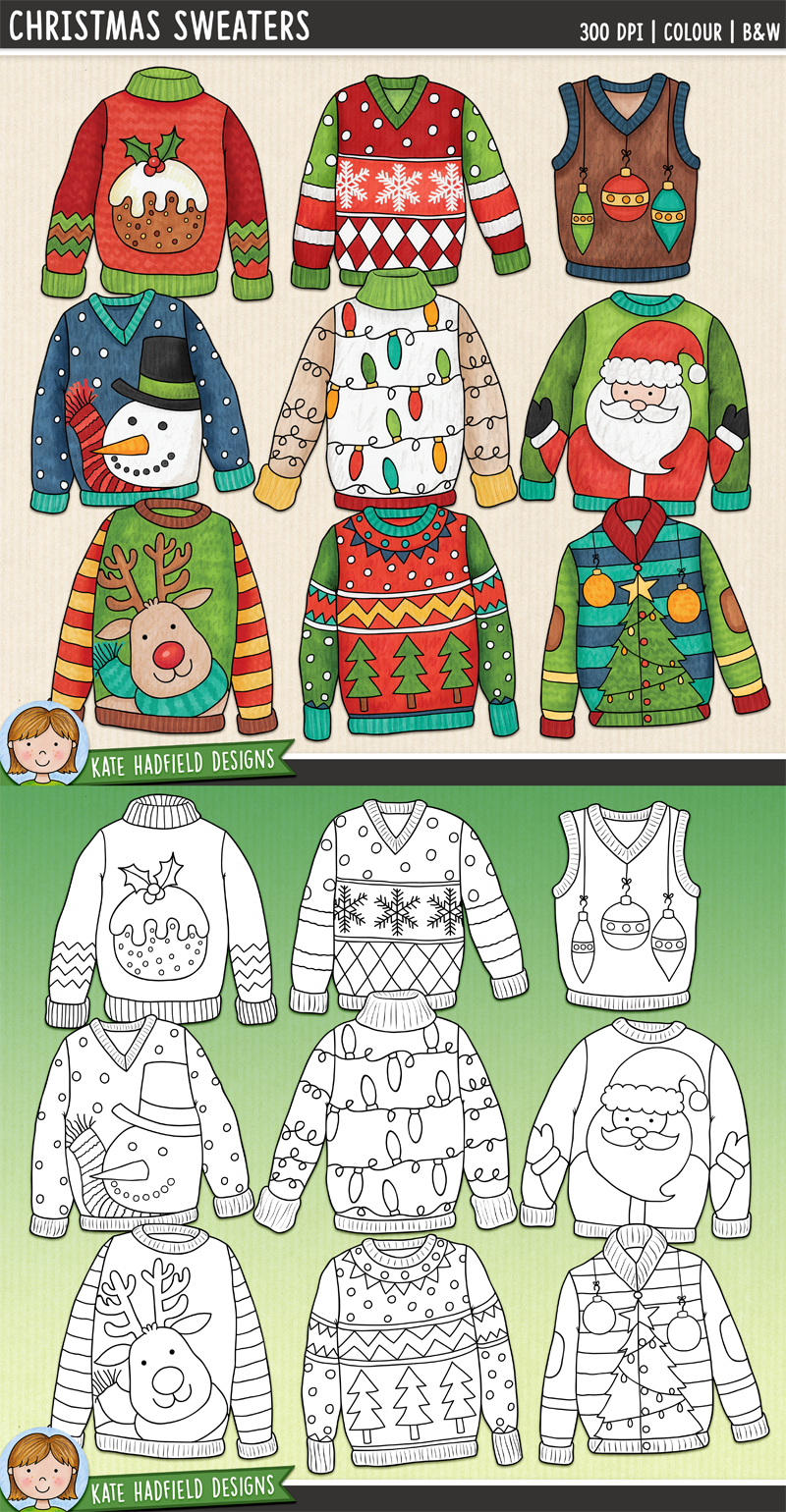 Ugly Christmas Sweaters 2020 To Draw Christmas Sweaters Clip Art in 2020 | Christmas art projects