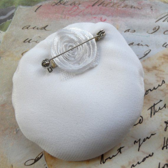 Brooch White Satin With Diamante Bling Button - Chi-Chi
