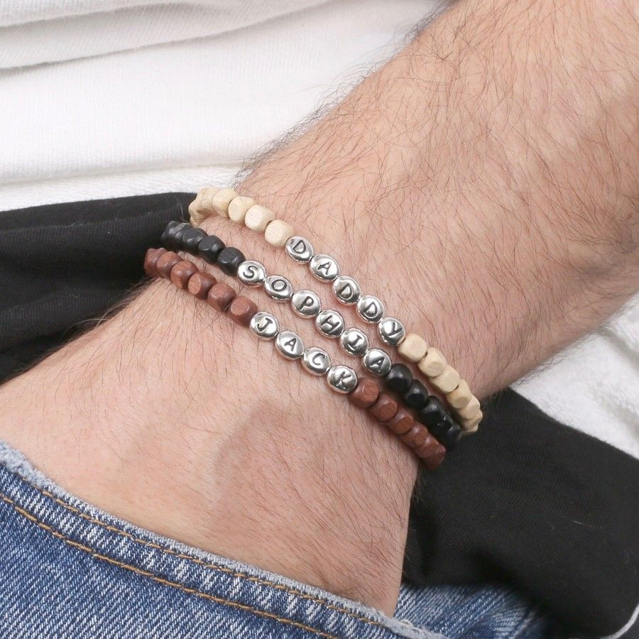 Men S Personalised Pewter Bead Bracelet Mens Beaded Bracelets Mens Jewelry Name Bracelet