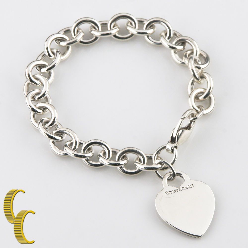 e475b2167641 Tiffany   Co. Sterling Silver Blank Heart Tag Charm Bracelet Retails  285   TiffanyCo  Chain