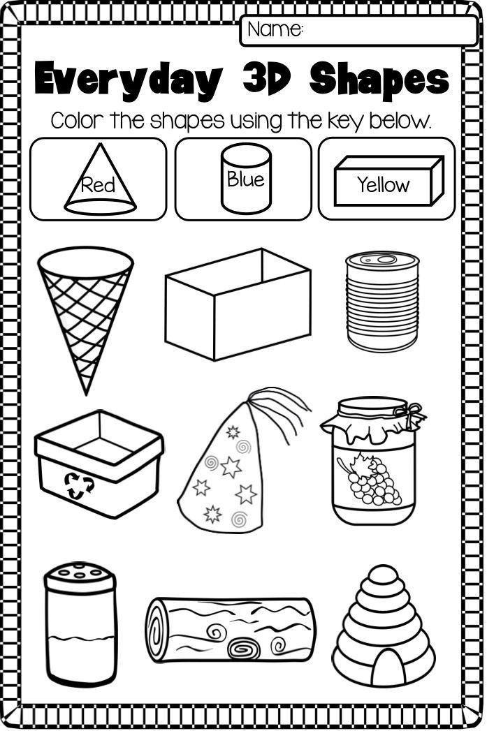 Identifying Shapes Worksheets Kindergarten 2d and 3d