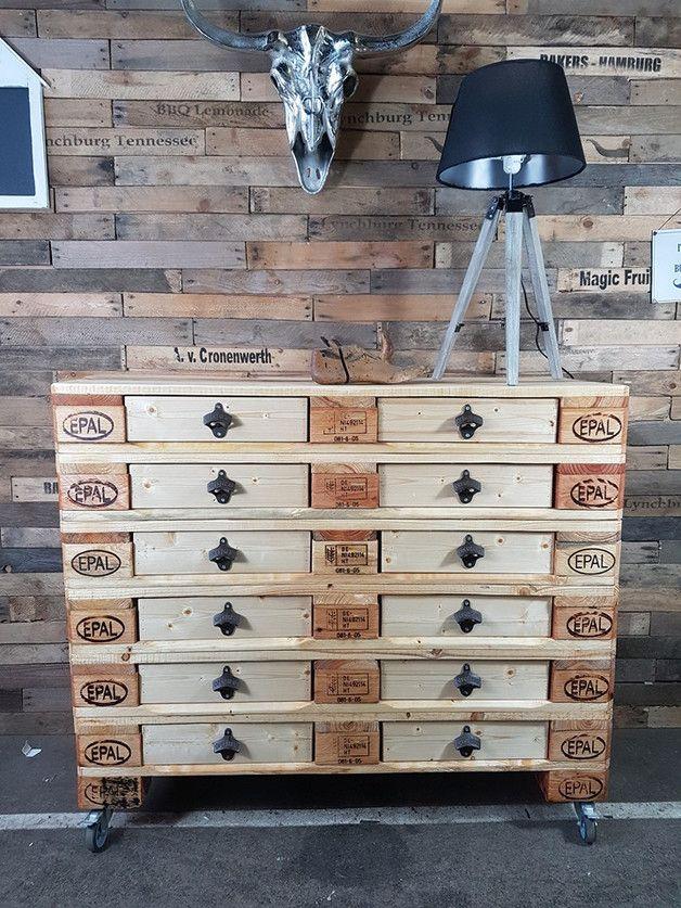 Sideboard aus weinkisten  Industrial Sideboard - 12 Schubladen aus Paletten | Obstkisten ...