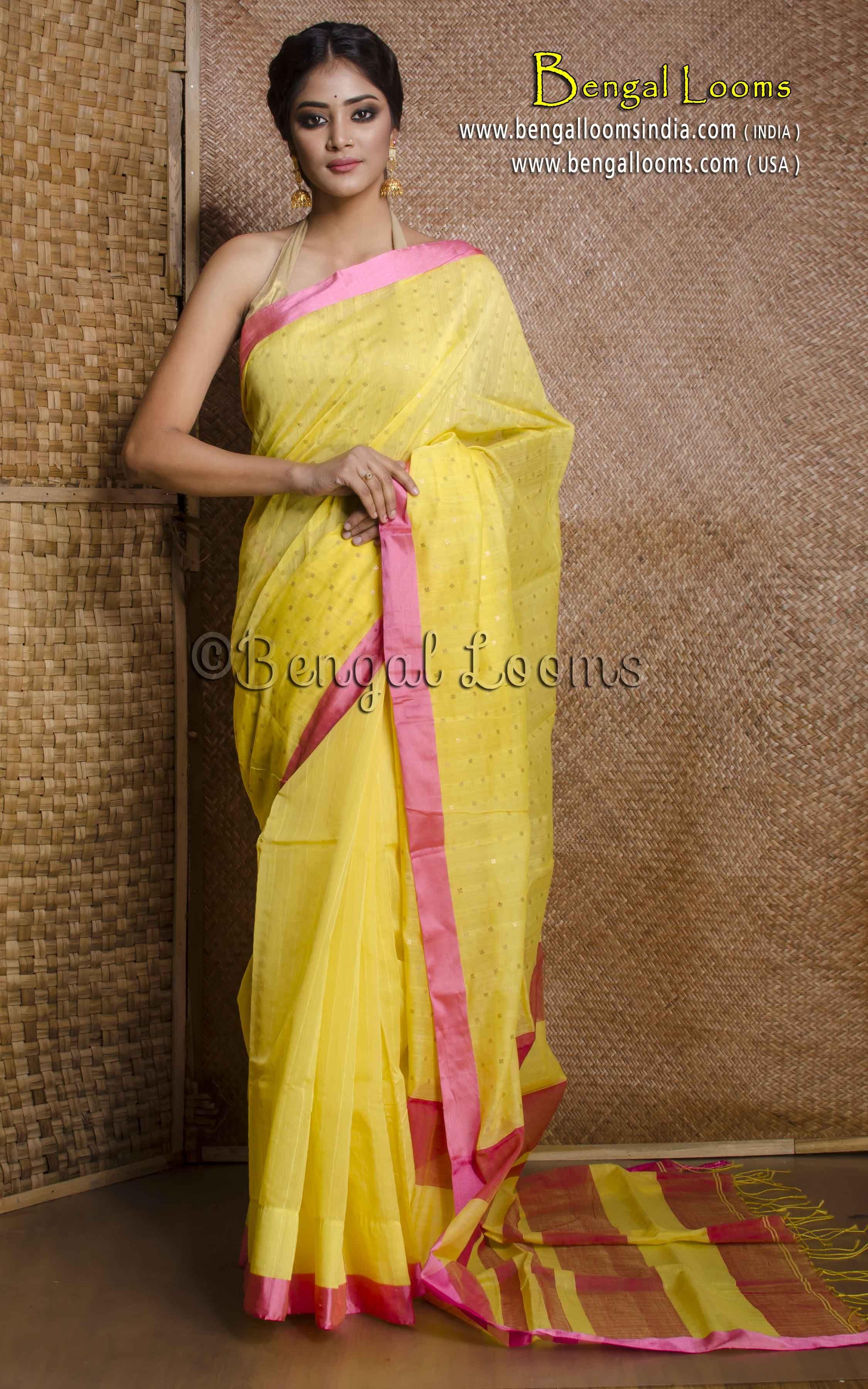 56dbd401b5 Pure Handloom Khadi Soft Cotton Saree with Sequin Work in Yellow and Rani