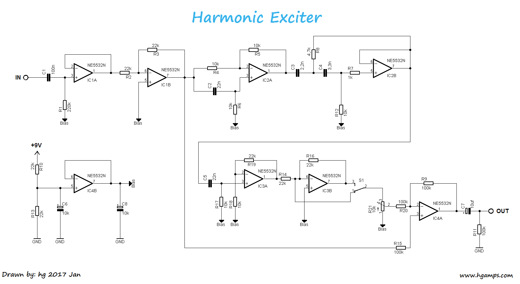 harmonic exciter guitar diy guitar effects pedals electronics projects circuits pitch  [ 1694 x 925 Pixel ]