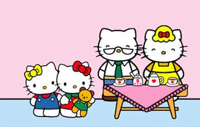 Hello Kitty S Family Far Left Her Twin Sister Mimmy White Left