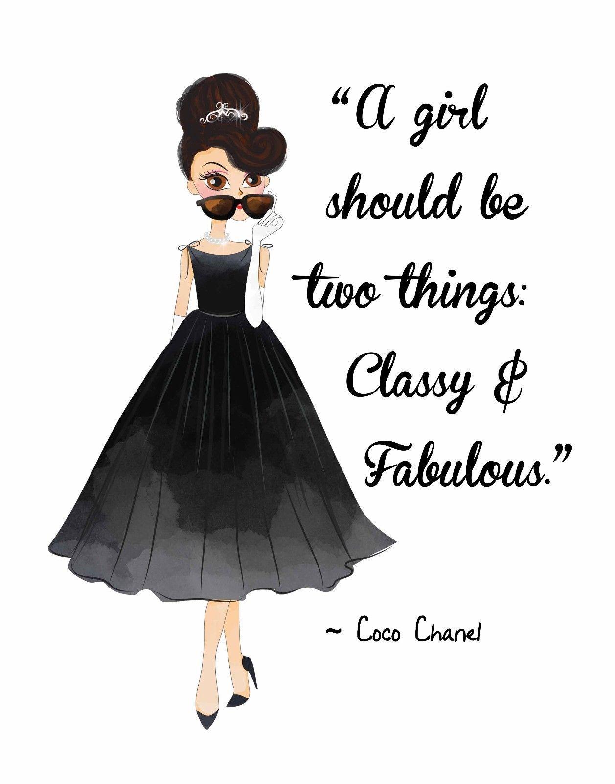 d7063e1007be Fashion Pop Art. Woman's Beauty Audrey Hepburn W/ Coco Chanel Quote Classy  & Fab