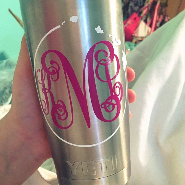 Hawaiian Islands Circle Custom Script Monogram On Yeti Cup - Custom vinyl stickers for cups