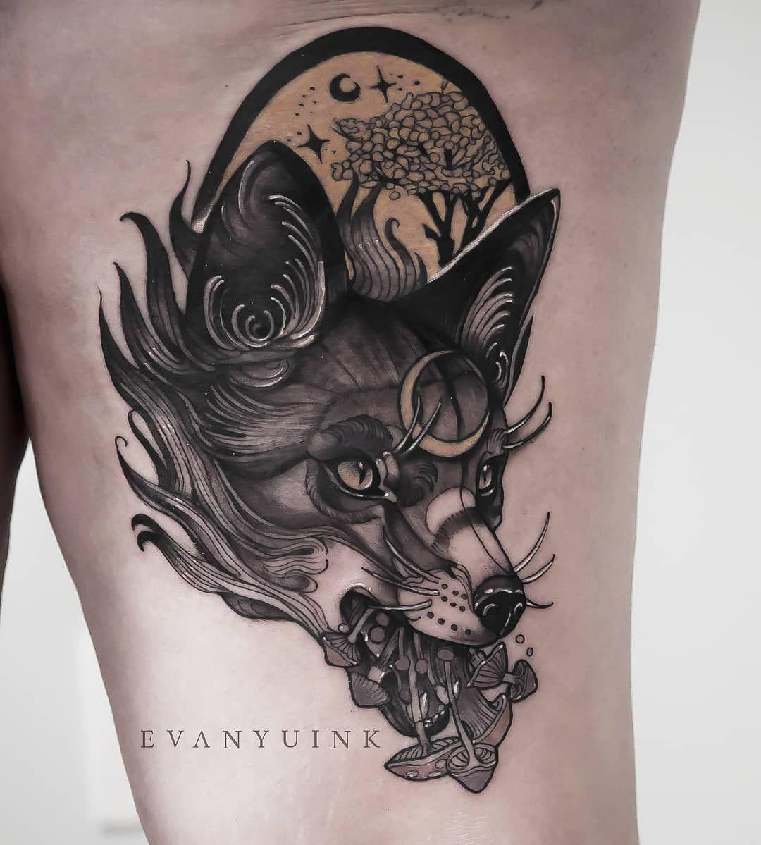 Fox Black Grey Neotraditional Evan Yu Body Art Tattoos Fox Tattoo Black And Grey Tattoos