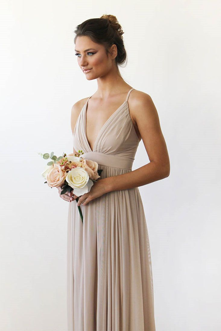 Simple straps champagne chiffon long wedding party dress dream