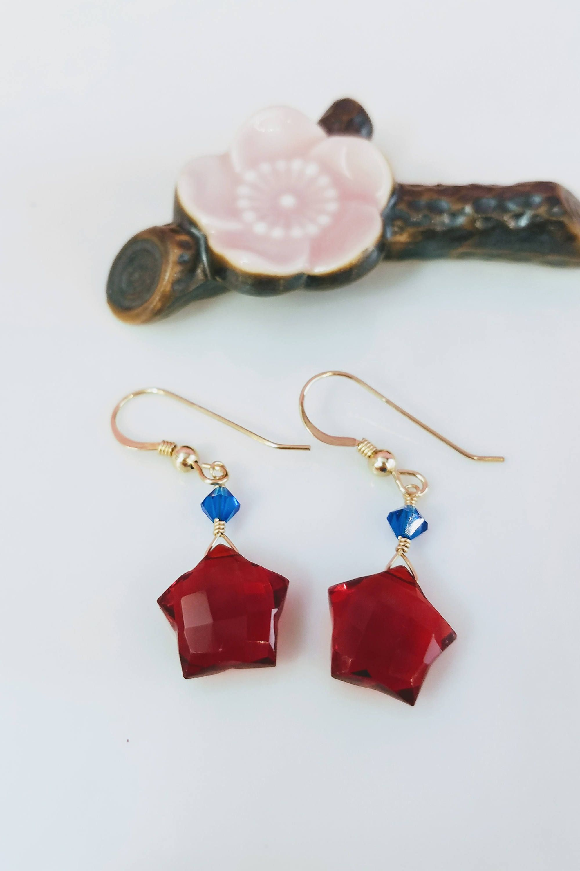 Red Blue Star Dangle Gold Filled Earrings Wonderwoman Quartz Celestial