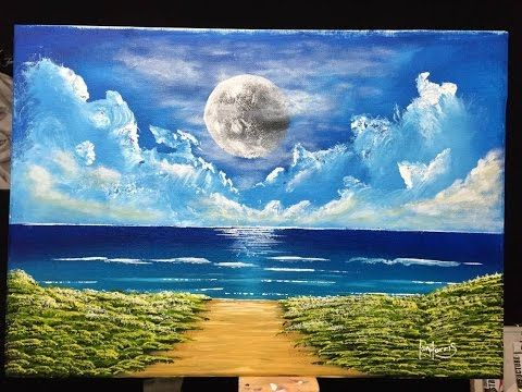 This Is A Simple Ocean Scene For Beginners To Blend In Acrylic Surfboard Painting Ocean Painting Painting Tutorial