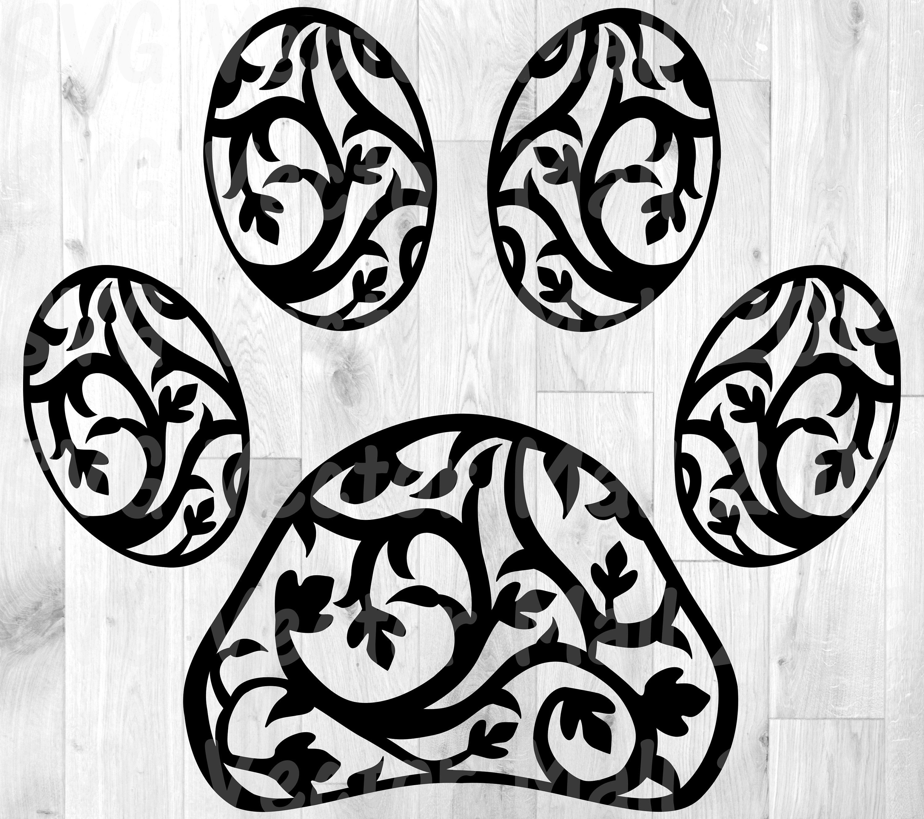 Floral paw print dog paw svg floral clipart leaves paw