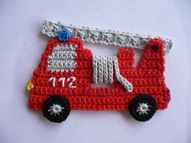 Häkelapplikationen Feuerwehrauto Häkelapplikation Aplicação