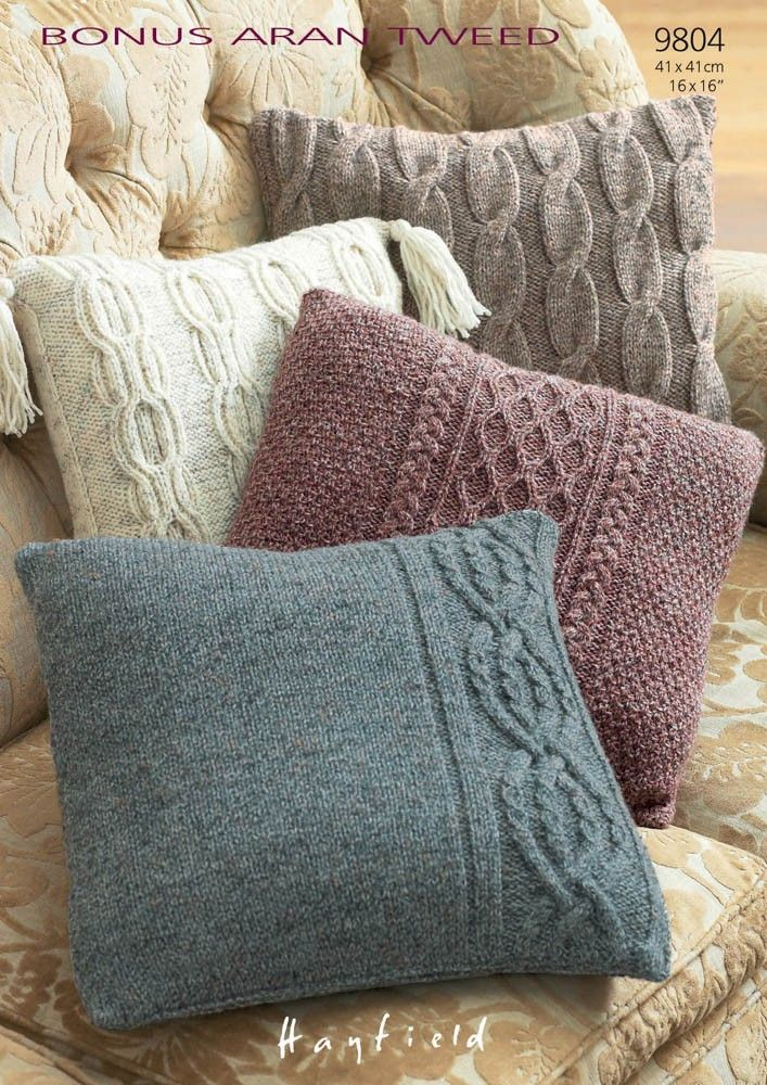 Pillow Cases In Hayfield Bonus Aran Tweed With Wool 9804 Knitted Cushion Covers Knitted Cushions Knitting