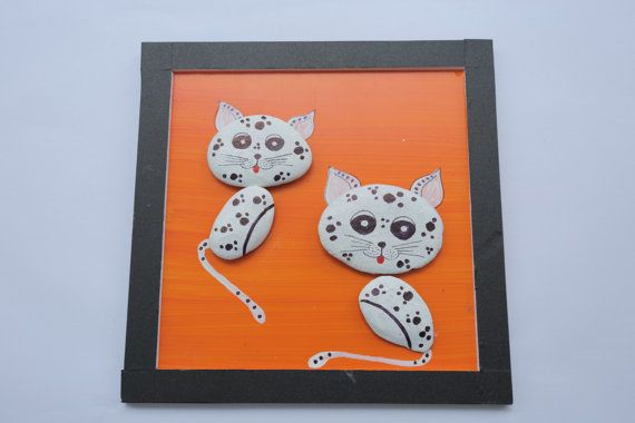 Cats pebbles picture painted pebbles in handmade by JenJenHouse