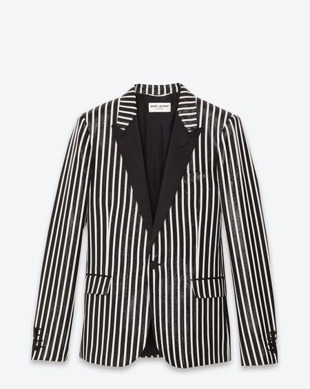 SAINT LAURENT  CLASSIC SINGLE BREASTED WET JACKET IN BLACK AND WHITE STRIPED POLYESTER