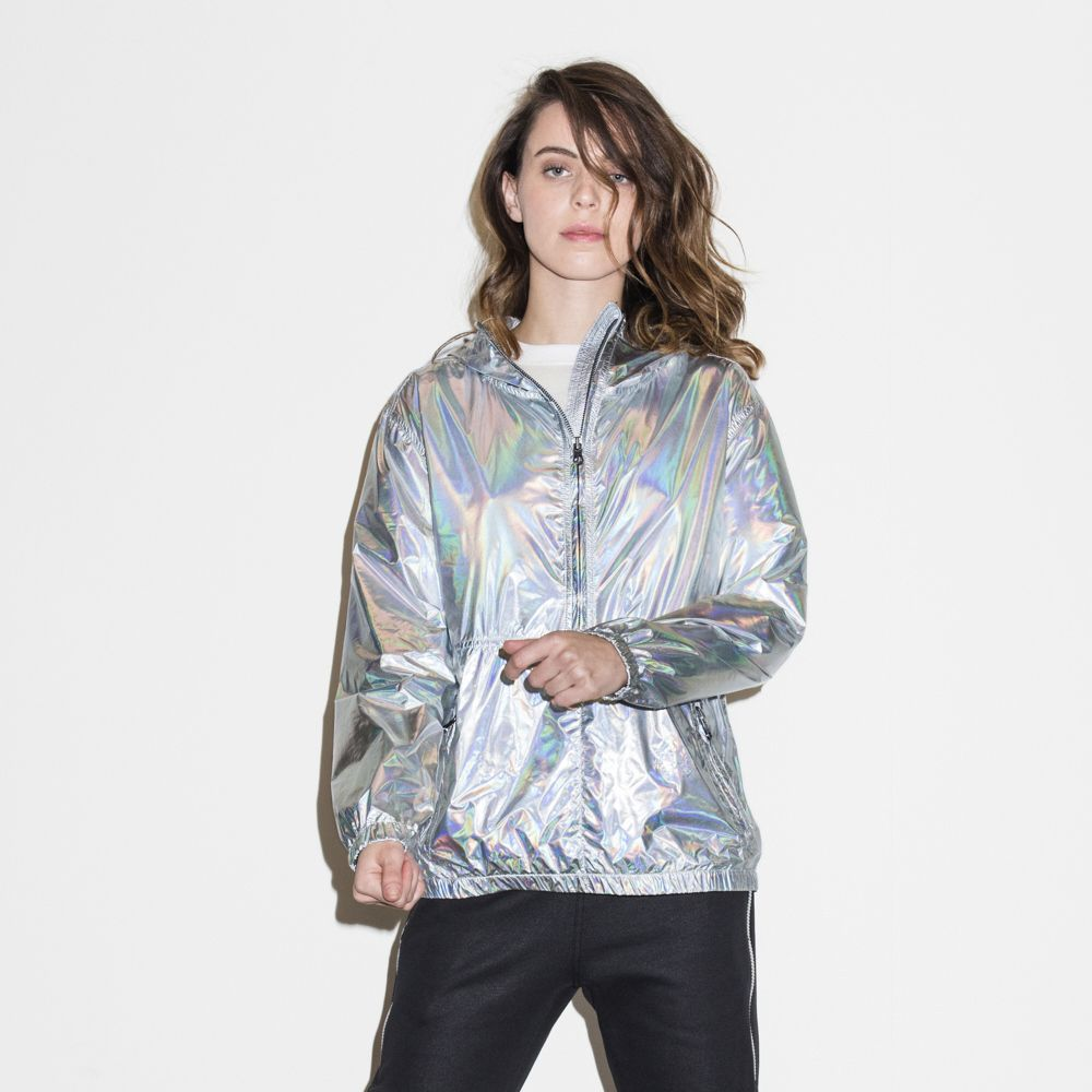 c5577653f214 Womens Iridescent Packable Jacket Silver