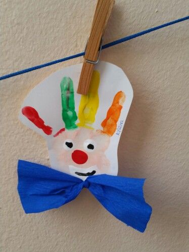 Handabdruck clown handabdr cke pinterest - Clown basteln kindergarten ...