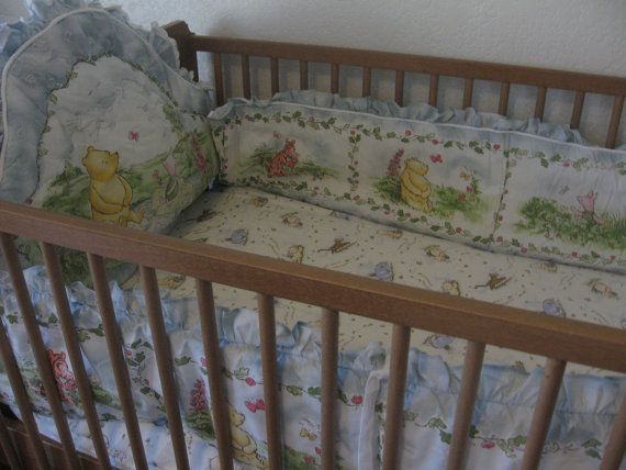 Classic Winnie The Pooh White Padded Crib Bumper Red Calliope Bedding Nursery