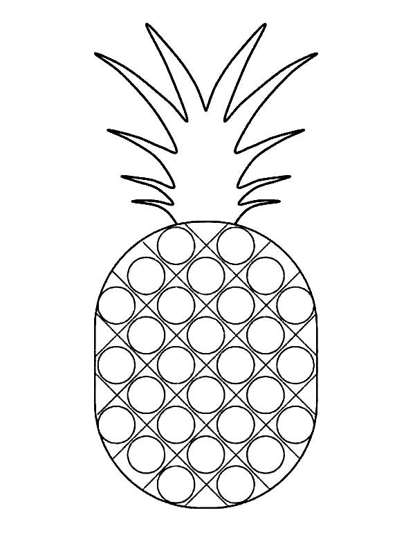 Dotted Pattern Pineapple Coloring Page Download Print Online