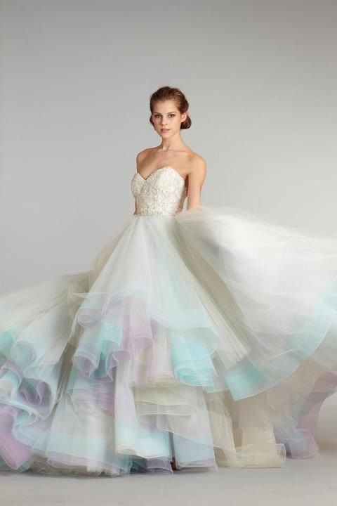 18 Colorful Wedding Dresses For The Non Traditional Bride Rainbow Wedding Dress Lazaro Bridal Gown Colored Wedding Dresses