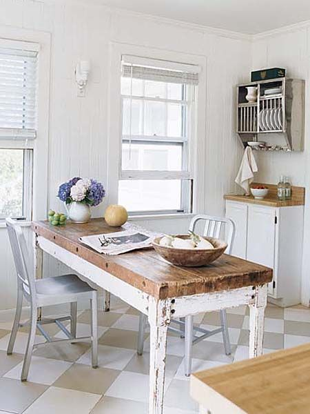 Modern Farmhouse Kitchen Table modern metal chairs & vintage galvanized plate rack are paired