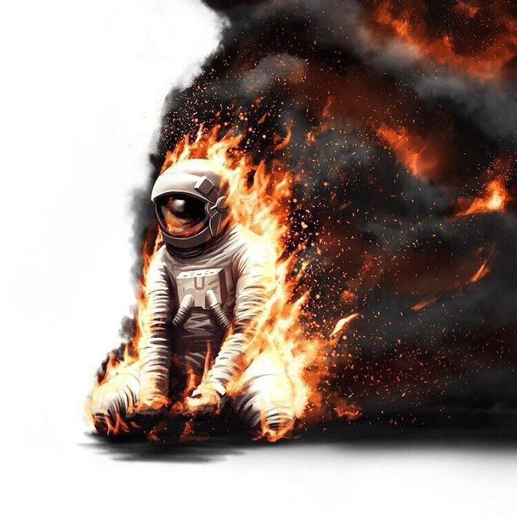 astronaut on fire - 736×736