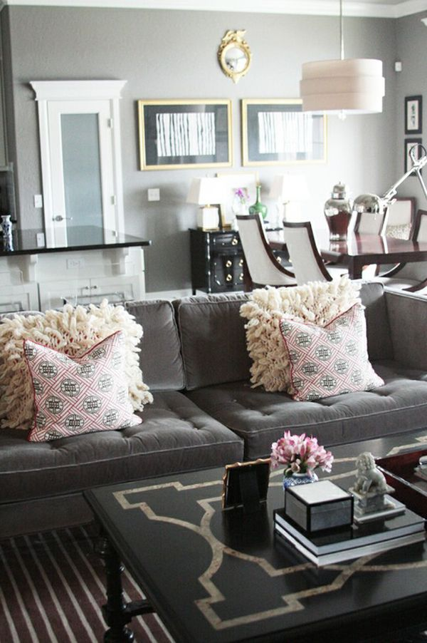 Gray Living Room Charcoal Couch
