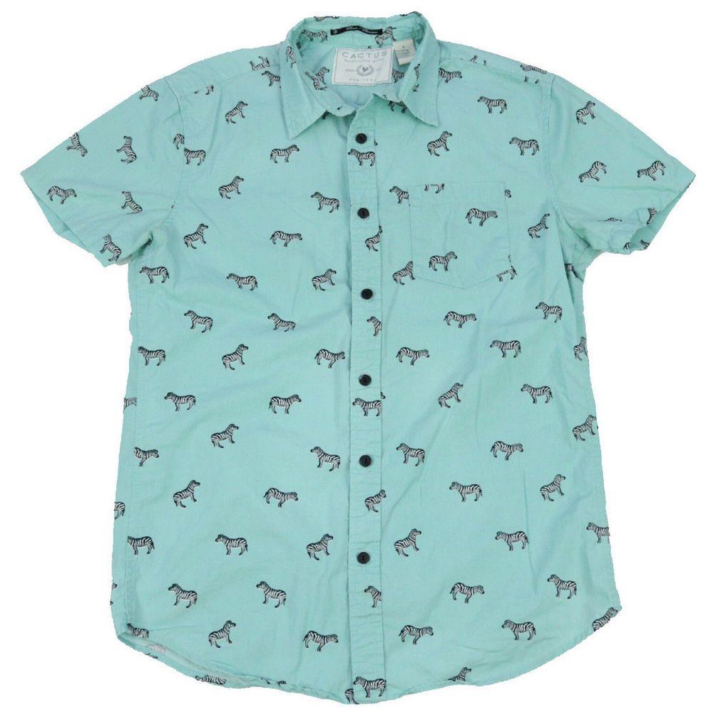 Zebra Print Mens Button Down Short Sleeve Shirt